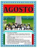 Calendario de Agosto- Spanish Interactive Notebook Activities -Fecha & Números