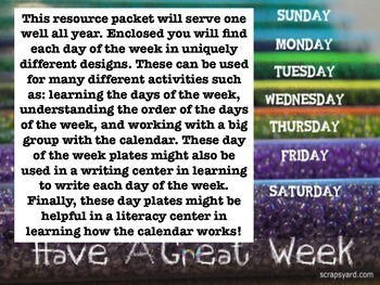 Back-to-School: Days of the Week Labels!