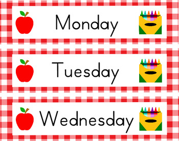 Back to School Days of the Week Tags