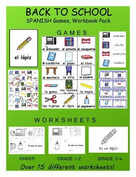 Back to School / Vuelta a la escuela SPANISH Workbook & Games Package