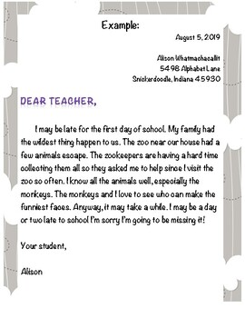 Back-to-School Dear Teacher Writing