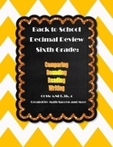 Back to School Decimal Review for 6th Grade