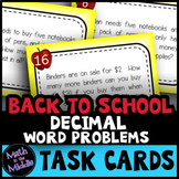 Back to School Decimal Math Word Problem Task Cards