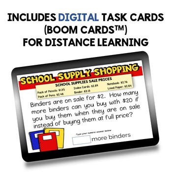 Back to School Decimal Math Word Problem Task Cards