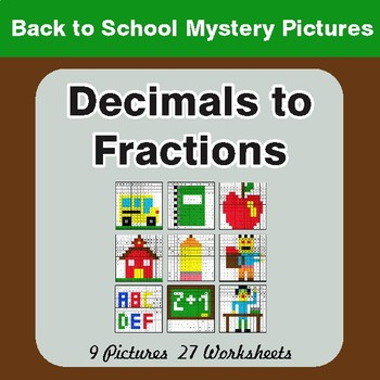Back to School: Decimals To Fractions - Color-By-Number Math Mystery Pictures