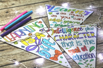 Growth Mindset Coloring Sheets, Pages, Banners, Pennants of Inspirational Quotes