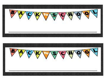 Back to School Desk/Name Plates Black with White Dots