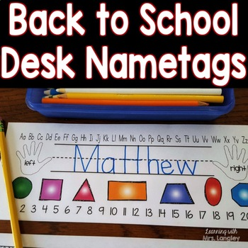 Back to School Desk Name Tags