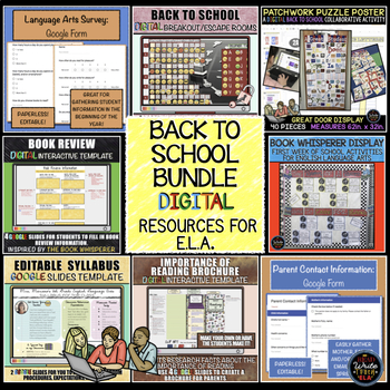 Back to School: Digital Activities and Resources for Language Arts BUNDLE
