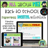 """Back to School """"All About Me"""" Digital Activities for Google Drive"""