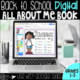 Back to School Digital All About Me Book to use with Google