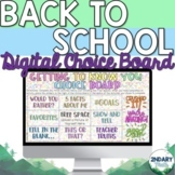 Back to School Digital Choice Board for Distance Learning