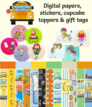 Back to School Digital Paper Pack, Printable Gift Tags & Stickers