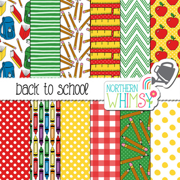 Back to School Digital Paper for Crafts and Classroom Decor