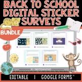 Back to School Digital Sticker Survey BUNDLE   Editable  
