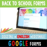 ENGLISH Back to School Digital and Paperless Google Forms