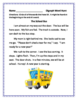 Back to School Digraphs and Blends Word Hunts and Word Games