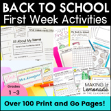 Back to School + Distance Learning Activities