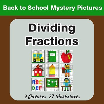 Back to School: Dividing Fractions - Color-By-Number Math Mystery Pictures