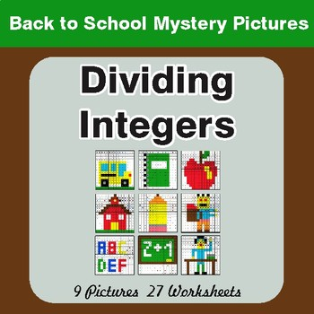 Back to School: Dividing Integers - Color-By-Number Mystery Pictures