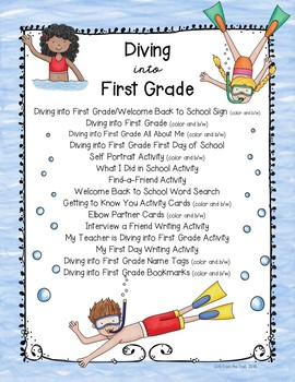 Back to School Diving into First Grade