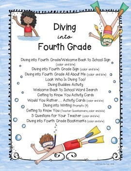 Back to School Diving into Fourth Grade