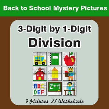 Back to School: Division: 3-Digit by 1-Digit - Color-By-Number Mystery Pictures