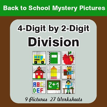 Back to School: Division: 4-Digit by 2-Digit - Color-By-Number Math Mystery Pictures