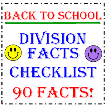 Back to School Division Facts Checklist (90 Facts)