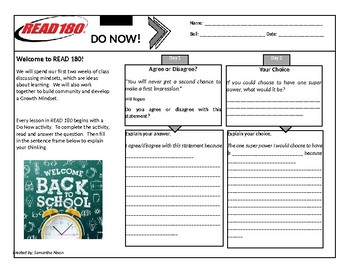 Read 180 - Stage B - Back to School - Do Nows - Week 1 & 2 (WITH LINES)