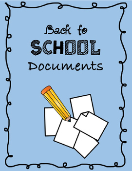 Back to School Documents