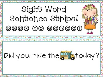 Sight Word Sentence Strips: Back to School Set