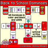 Back to School Domino Game with Writing Activity Options -