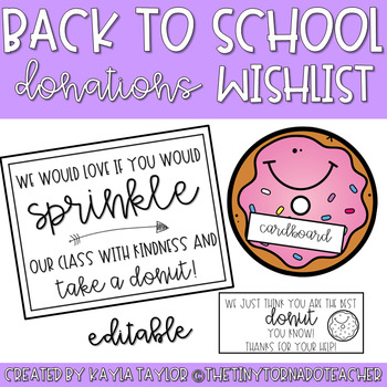 Back to School Donations Wishlist-Donut Edition