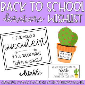 Back to School Donations Wishlist-Cactus Edition