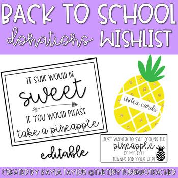 Back to School Donations Wishlist-Pineapple Edition