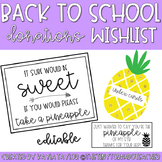 Back to School Donations Wishlist-Pineapple Edition