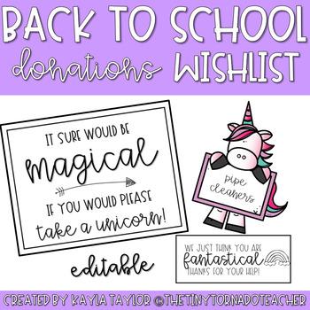 Back to School Donations Wishlist-Unicorn Edition