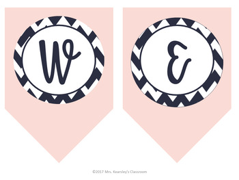 welcome back banner back to school printable navy blush chevron