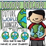 Back to School Door Display Bulletin Board Decoration World Changers EDITABLE