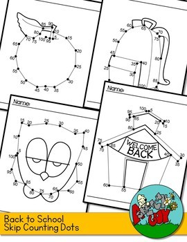 Back to School Dot to Dot / Connect the Dots Skip Counting by 5