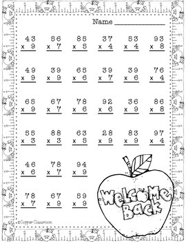 Back to School Double Digit Multiplication With Regrouping