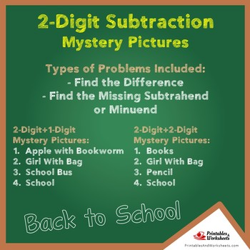 Back to School Double Digit Subtraction Mystery Pictures