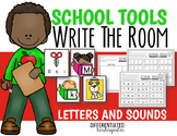 Back to School EDITABLE Letters and Sounds Write the Room Fun-Differentiated