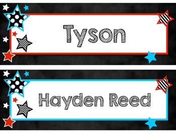 Back to School Star Theme EDITABLE Name Tags & Name Plates - Bookmarks