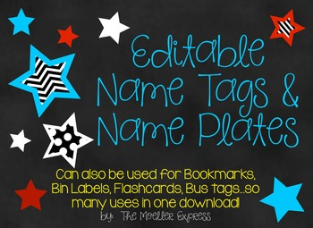 Back to School Star Theme EDITABLE Name Tags & Name Plates