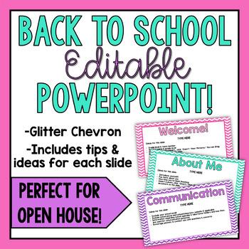 Back to School EDITABLE PowerPoint-Glitter Chevron