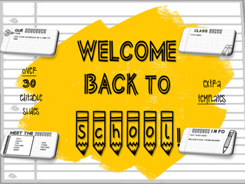 Back to School EDITABLE PowerPoint Template Slides