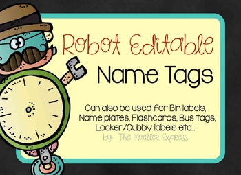 EDITABLE Robot Name Tags - Bus, Labels, Flashcards, Name Plates, Back to School