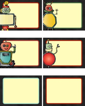 Robot Name Tags - EDITABLE (Labels, Flashcards, Name Plates, Back to School)